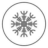 Timón del aegishjalmur del temor o del vector del color del negro del esquema del icono del egishjalmur en imagen plana del estil stock de ilustración