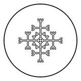 Timón del aegishjalmur del temor o del vector del color del negro del esquema del icono del galdrastav del egishjalmur en imagen  stock de ilustración