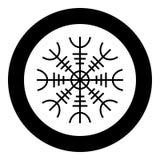 Timón del aegishjalmur del temor o del vector del color del negro del icono del egishjalmur en imagen plana del estilo del ejempl stock de ilustración