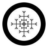 Timón del aegishjalmur del temor o del vector del color del negro del icono del galdrastav del egishjalmur en imagen plana del es ilustración del vector