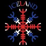 Timón del temor, timón del terror, bastones mágicos islandeses, Aegishjalmur, con la bandera de Islandia libre illustration