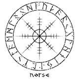 Timón del temor, timón del terror, bastones mágicos islandeses con las runas escandinavas, diseño del vintage de Aegishjalmur stock de ilustración