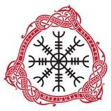 Timón del timón del temor del terror, bastones mágicos islandeses con las runas escandinavas y dragones, Aegishjalmur libre illustration