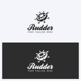 Timón, timón Logo Design Template Navegando, tema náutico Estilo simple y limpio Colores blancos y negros Fotos de archivo