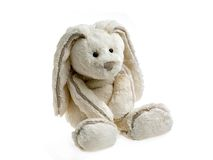Tim 3. Sweet soft-toy bunny on white background Royalty Free Stock Image