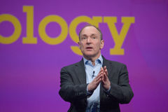 Tim Berners-Lee trasporta l'indirizzo all'IBM Lotusphere Immagine Stock Libera da Diritti