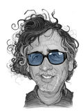 Tim Burton Caricature Sketch Royaltyfria Bilder