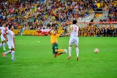 Tim Cahill Being Fouled Royalty-vrije Stock Foto's