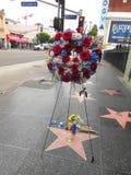 Tim Conway RIVER SÖNDER att hedra honom med blommor på Hollywood går av berömmelse royaltyfri fotografi