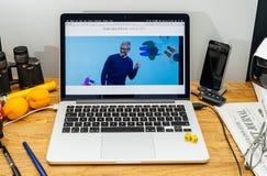 Tim Cook Apple vd på tillstånd på konferensbärare för WWDC 2017 Arkivfoto