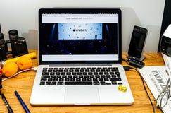 Tim Cook Apple vd på tillstånd på konferensbärare för WWDC 2017 Arkivbild