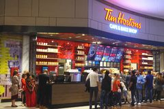 Tim Hortons Cafe and Bake Shop is a transnational fast food restaurant known for its coffee and donuts. stock image