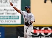 Tim Johnson lanza el béisbol Foto de archivo libre de regalías