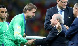 Tim Krul and Sep Blatter Coupe du monde 2014 Royalty Free Stock Photo