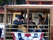 Tim Lincecum and dan runzler sit on Trolley Royalty Free Stock Photos