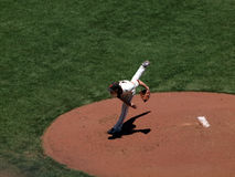 Tim Lincecum finishes throwing a pitch during a day game Royalty Free Stock Photos