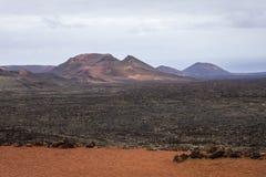 Timanfaya国家公园火山的月球风景  库存图片