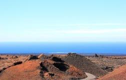 Timanfaya Nationaal Park, Lanzarote, Canarische Eilanden. Stock Afbeeldingen