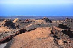 Timanfaya Nationaal Park, Lanzarote, Canarische Eilanden. Royalty-vrije Stock Foto
