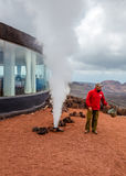 Timanfaya national park - extremelly fast vaporizing in volcanic area Stock Images