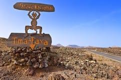 Timanfaya National Park sign in Lanzarote