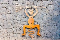 Timanfayaduivel - van geoxydeerd ijzer tot een symbool van het Nationale Park van Timanfaya, Lanzarote wordt gemaakt, Canarische  stock fotografie