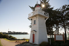 Timaru Harbour Lighthouse. The Timaru Harbour Lighthouse was built 1878 from native wood Kauri and was in service until 1970. In 2010 the lighthouse was Stock Photos