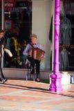 TIMARU, NEUSEELAND, AM 4. JUNI 2017: Straßenkünstler, der accordi spielt Lizenzfreie Stockfotos