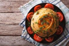 Timbale francês da massa com queijo e vegetais t horizontal Foto de Stock Royalty Free