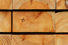Timber Background: Annual Rings Texture of Piled Pine Construction Boards. Detail of the annual rings texture in the cutting edges of stacked pine wood royalty free stock photo