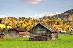 Free Timber Barns Under Forests And Mountains In Garmisch Germany Stock Image - 179222181