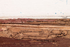 Timber beam of door damaged by termite. Which eat for a long time royalty free stock photo