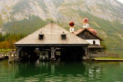 Timber boathouse.St Bartholoma.Konigssee.Germany Royalty Free Stock Images