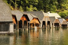 Timber boathouses. Konigssee. Germany Royalty Free Stock Photo