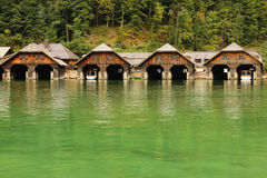 Timber boathouses. Konigssee. Germany Royalty Free Stock Images