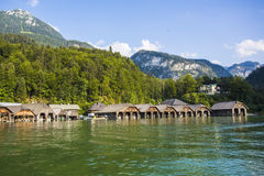 Timber boathouses. Konigssee. Germany Stock Photos
