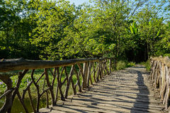 Timber bridge over grassy rivulet in sunny summer afternoon Stock Images