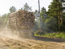 The timber carrying vessel. The machine for transportation of a wood on a country road Stock Image