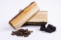 Timber, coal and biomass pellet - white background. Timber, coal and biomass pellet on white background royalty free stock photo