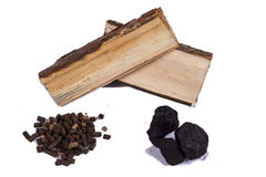 Timber, coal and biomass pellet - white background. Royalty Free Stock Photo