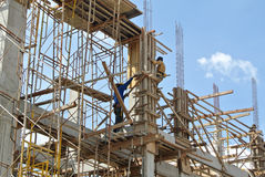 Timber column formwork under construction at the construction site Stock Image