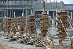 Timber column formwork under construction at the construction site Royalty Free Stock Images