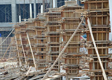 Timber column formwork under construction at the construction site Stock Images