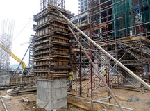 Timber column formwork under construction at the construction site Royalty Free Stock Image