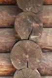 Timber corner. Close up fragment. With wood texture Stock Photos