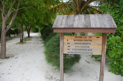 Timber direction signs at Bandos Island Maldives Royalty Free Stock Image