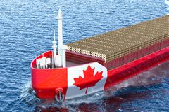 Timber export, wood trade from Canada concept. Canadian freighte. R ship with wooden logs in ocean, 3D Royalty Free Stock Photo