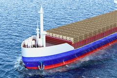 Timber export, wood trade from Russia concept. Russian freighter. Ship with wooden logs in ocean, 3D Stock Image