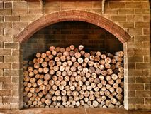 Timber and  fireplace pattern and texture Royalty Free Stock Photo