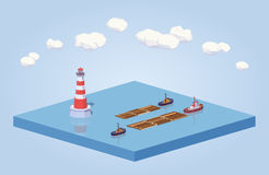 Timber floating on tow at the sea Royalty Free Stock Photos
